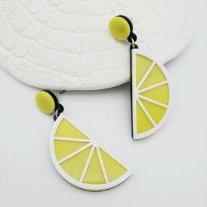 Lemon Slice Yellow Post Back Drop Earrings